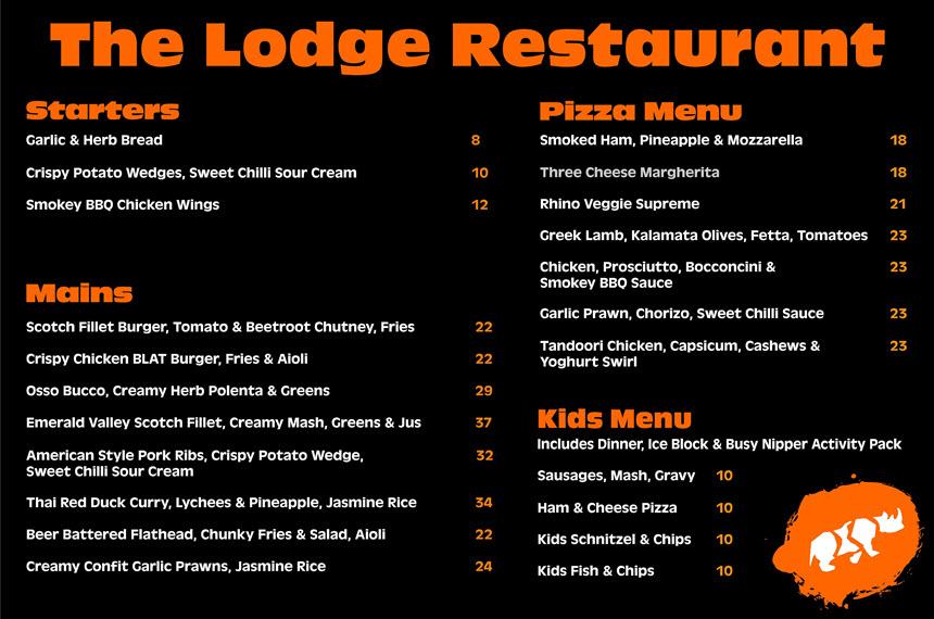 The Lodge Restaurant Menu